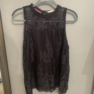 Altard State Steel Gray Lace Top